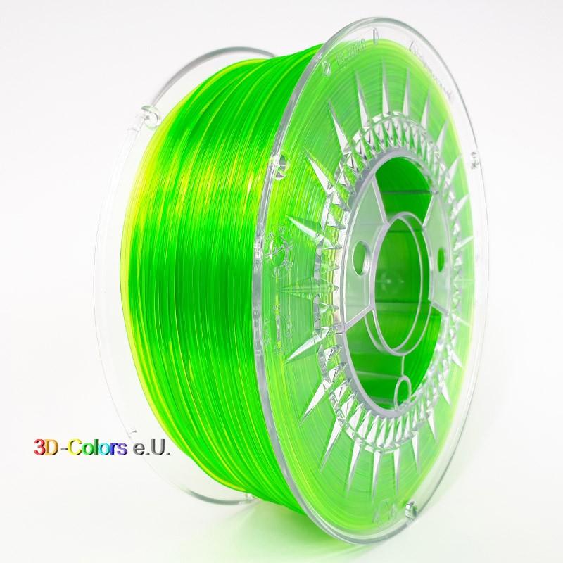 Devil Design PETG Filament hellgrün transparent, 1 kg, 1,75 mm